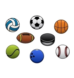 Sport balls isolated icons set vector image