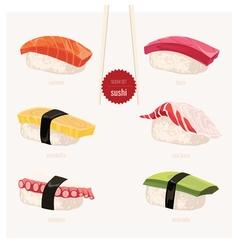 Sushi set Japanese food vector image