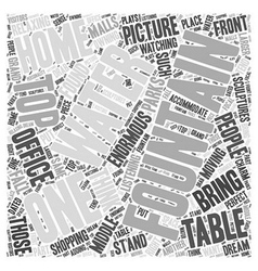 Table top fountains word cloud concept vector