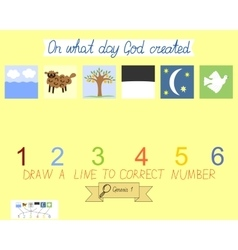 Task for children how to place days of creation vector