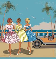 Three women at the sea vector image