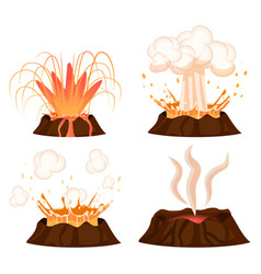 Volcanic eruption stages collection vector