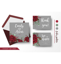 wedding invite invitation thank you floral cards vector image