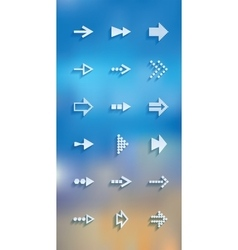 white arrows icons set vector image