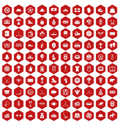 100 hockey icons hexagon red vector