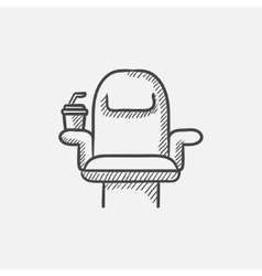 Cinema chair with disposable cup sketch icon vector