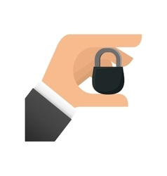 Black padlock hand security design vector