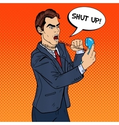 Angry Business Man Screaming in Phone Pop Art vector image