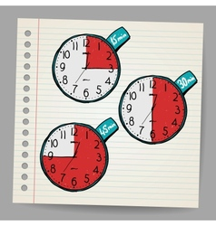 Red doodle timers vector
