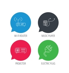 Electric plug wi-fi router and projector icons vector image