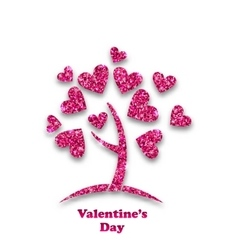 Concept of Tree with Shimmering Heart Leaves for vector image
