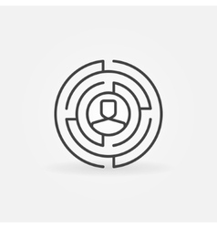 Round labyrinth outline icon vector