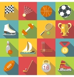 Different sport icons set flat style vector image