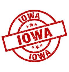 Iowa red round grunge stamp vector