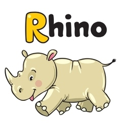 Little rhino for abc alphabet r vector