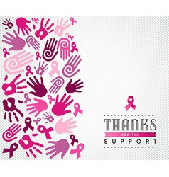 Breast cancer campaign poster pink hand ribbon vector
