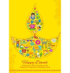 Happy diwali background with india related things vector