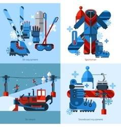 Skiing 2x2 design concept vector