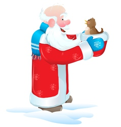 Christmas santa blue bird vector