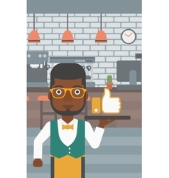 Waiter with like button vector