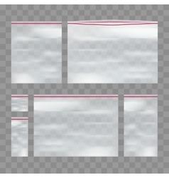 Set of sealed empty transparent plastic zip vector