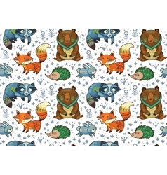 Woodland annimals seamless pattern vector image