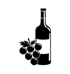 Black contour bottle of wine with bunch of grapes vector