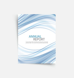 Blue wave annual report cover template brochure vector