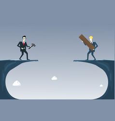 business people building bridge over cliff gap vector image