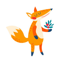 cartoon red fox vector image