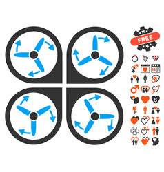 Copter screws rotation icon with lovely bonus vector