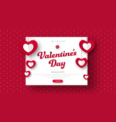 Design red header for sale on valentines day vector