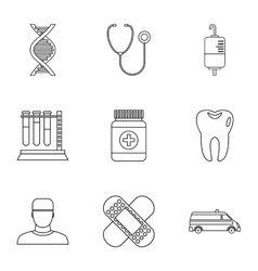 Doctoral icons set outline style vector image