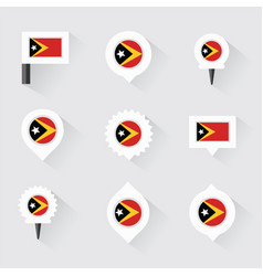 East timor flag and pins for infographic and map vector