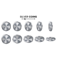 Empty 3d silver coins blank set realistic vector