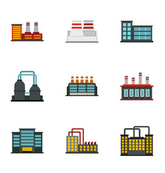 factory icons set flat style vector image