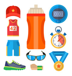 fashion dressing run sport accessory icons vector image