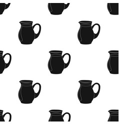 Glass jug of milk icon in black style isolated on vector