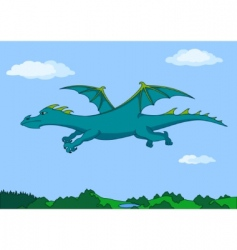 green dragon in the sky vector image