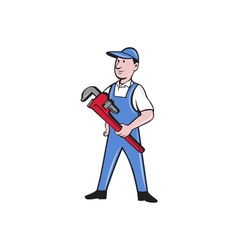 Handyman pipe wrench standing cartoon vector