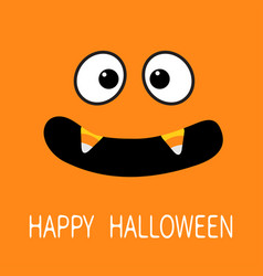 Happy halloween scary face emotions big eyes vector
