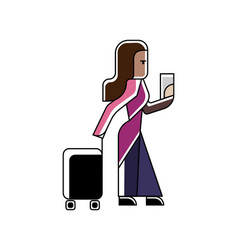 Indian woman with travel bag and ticket in hands vector