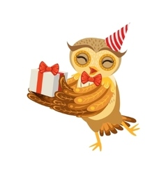 Owl and birthday present cute cartoon character vector