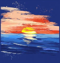 Painted sunset on the sea vector