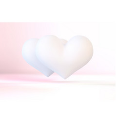 Realistic white valentine heart in 3d style vector
