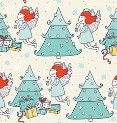 Seamless christmas pattern with hand drawn flying vector image