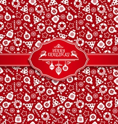 Seamless pattern of christmas texture icons on red vector image