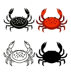 Set of flat red black crab isolated on white vector image vector image