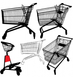 shopping cart silhouettes vector image vector image