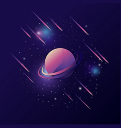 space backgroun with colorful planet and meteor vector image
